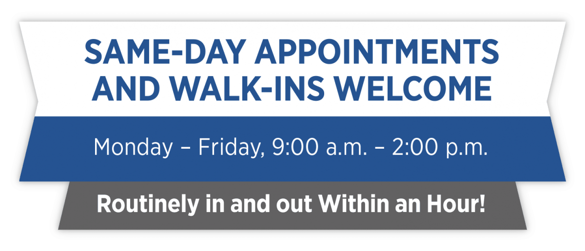 Same Day Appointments For All Areas Of Specialty